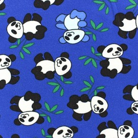 Jersey Fabric Panda - Royal Blue x 10cm