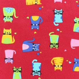 Jersey Fabric Multi Cats - Red x 10cm