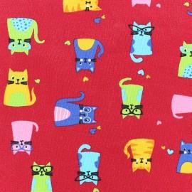 Tissu Jersey Multi Cats rouge x 10cm