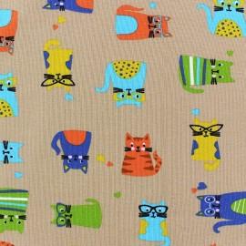 Jersey Fabric Multi Cats - Beige x 10cm