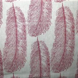 Linen Fabric - Duvet plumes red x 64,5 cm