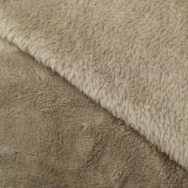 Tissu Doudou uni taupe x10cm