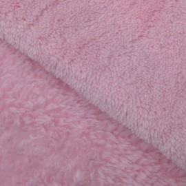 Tissu Doudou uni rose x 10cm
