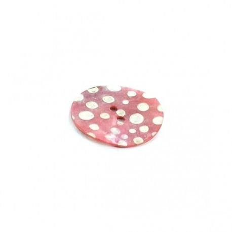 Bouton Nacre à pois blancs sur fond rose