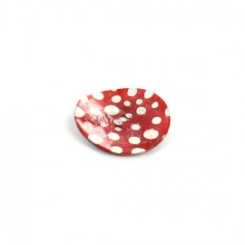 Mother of pearl button with white polka dots - red