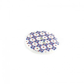 Polyester button, Mosaic - white