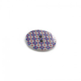 Polyester button, Mosaic - grey