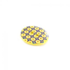 Polyester button, Mosaic - yellow