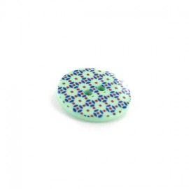 Polyester button, Mosaic - light green