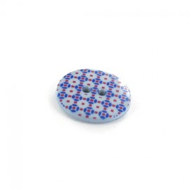 Polyester button, Mosaic - blue