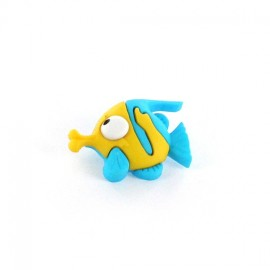 Polyester button Funny Fish - yellow