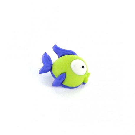 Bouton Polyester Funny Fish vert