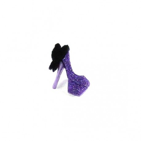 Polyester button, high heels - purple