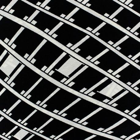 Graphique Losangia Crepe Fabric - Black x 10cm