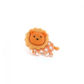 Polyester button Baby animals, gingham Lion - orange