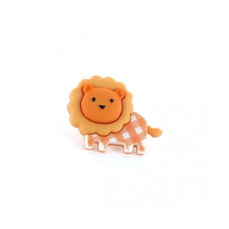Polyester button Baby animals, gingham Lion - orange