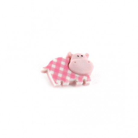 Polyester button Baby animals, gingham Hippopotamus - pink