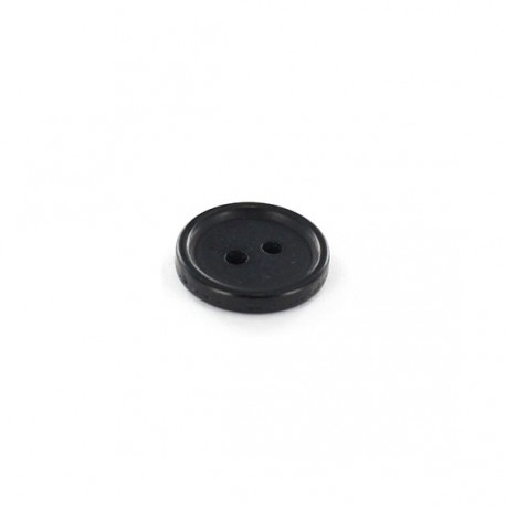 Polyester round-shaped button Glitter - black