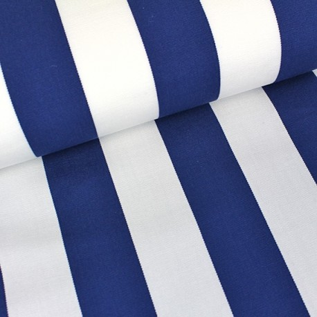 Tissu toile transat Playa rayures blanc/bleu navy (43cm) x 10cm