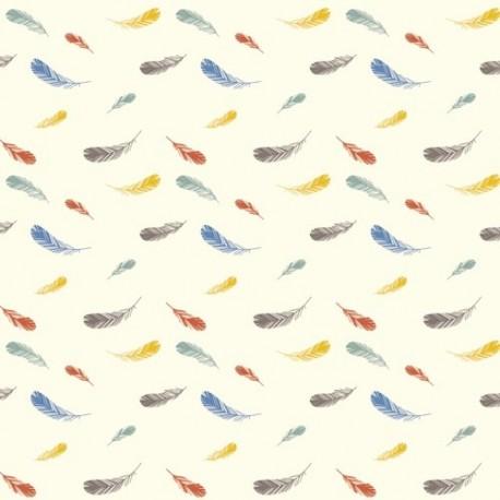 Canvas cotton Fabric Feathers - Cream x 10 cm
