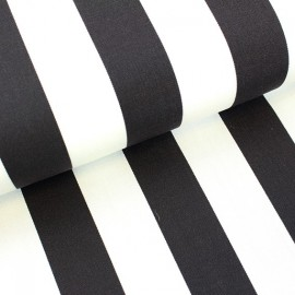 Tissu toile transat Playa rayures blanc/noir (43cm) x 10cm