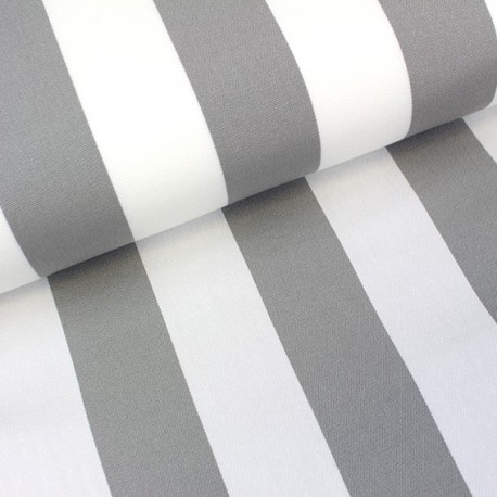 Deckchair Canvas Fabric - Playa stripes white/grey (43cm) x 10cm