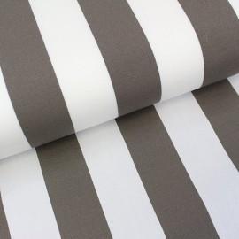 Tissu toile transat Playa rayures blanc/taupe x 10cm