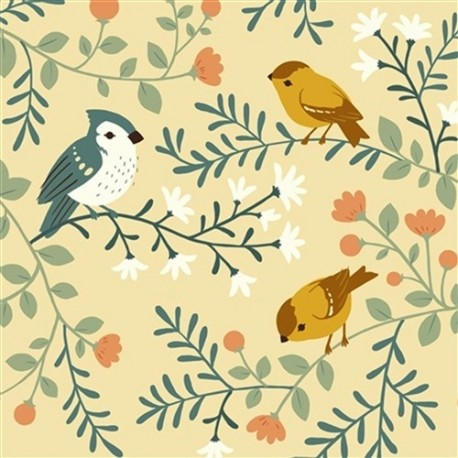 Canvas Fabric Birds and Branches Cream x 15 cm