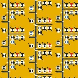 Tissu Toile de coton Family of Chickadees - coton biologique x 20 cm