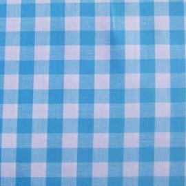 Tissu Vichy grands carreaux turquoise x 10cm