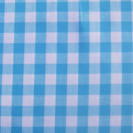 Big checked Vichy fabric - turquoise x 10cm
