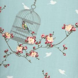 Tissu enduit coton Cage à oiseaux Aqua sky x 10cm