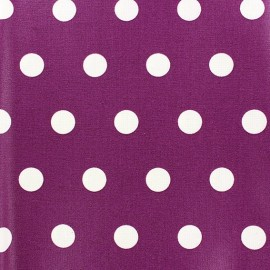 Coated Cotton Fabric - White dots on blueberry background x 10cm