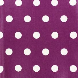 Tissu enduit coton pois blancs sur fond myrtille x 10cm