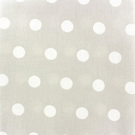 Coated Cotton Fabric - White dots on pearl background x 10cm