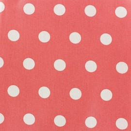 ♥ Coupon 120 cm X 150 cm ♥  Coated Cotton Fabric - White dots on coral background