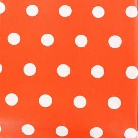 Tissu enduit coton pois blancs sur fond orange x 10cm