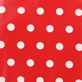 Coated Cotton Fabric - White dots on red background x 10cm