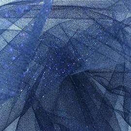 Tulle souple pailleté Bleu nuit x10cm
