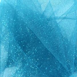 Tulle souple pailleté Bleu canard x10cm