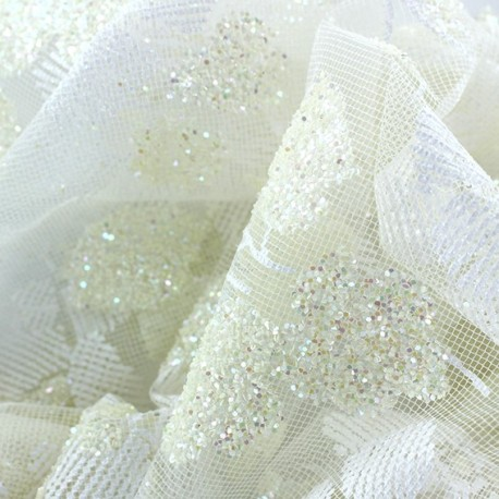 Luxury Tulle - Fleurs irisées Ecru x 10cm