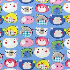 Tissu coton Animals Schoolchildren fond ciel x 10cm