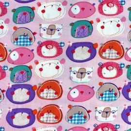 Animals Schoolchildren Cotton Fabric - Old Pink background x 10cm