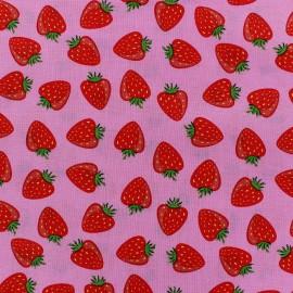 Tissu coton Simply fraise fond Rose x 10cm