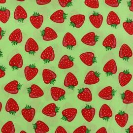 Tissu coton Simply fraise fond Vert anis x 10cm