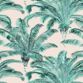 Cotton Canvas Fabric - Bahia emerald / cream x 50cm