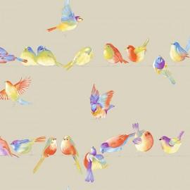 Tissu toile coton Happy Birds fond lin 280 cm x 62cm