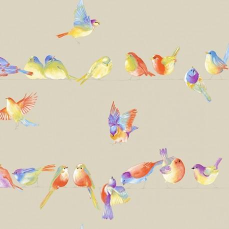 Cotton Canvas Fabric - Happy Birds linen background 280 cm x 62cm