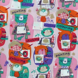 The animals at school Cotton Fabric - Old Pink background x 10cm