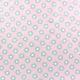Tissu velours minkee ras Paquerettes fond rose x 10cm